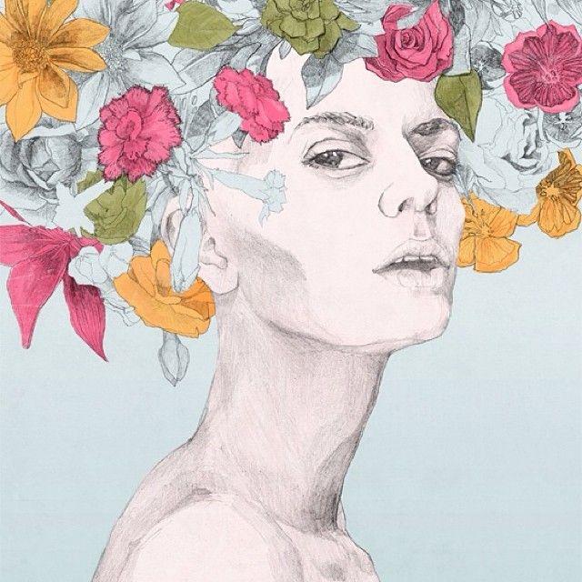 Tocado de flores ilustrado por Vicente Reinamontes, que les parece su trabajo? Pueden ver más de sus ilustraciones en www.reinamontes.com  #talentochileno #fashionblog #difundimosmoda