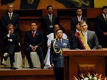 Rafael Correa during his inaugural speech as president of Ecuador.