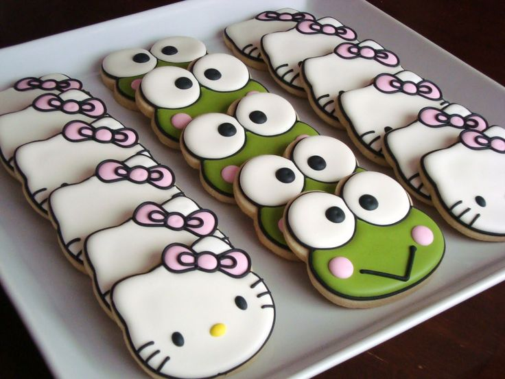 hello kitty and frog cookies (something for the boys)