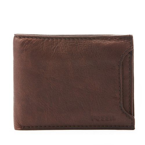 Fossil Mens Ingram Brown 2in1 Leather Wallet