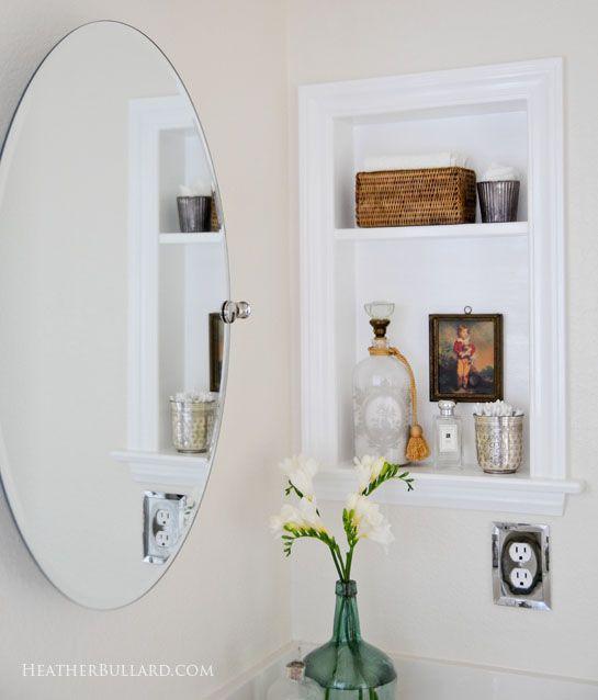 Medicine cabinet to built in shelf bathroom pinterest - Built in medicine cabinets in bathroom ...