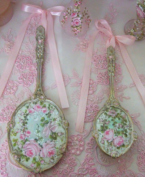 Vintage Romantic Brush and brush set roses #shabbychic
