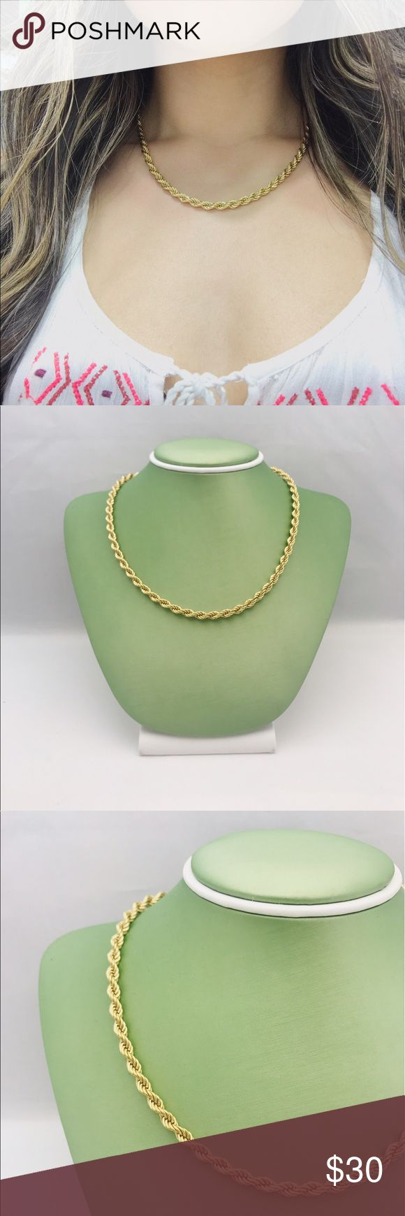 """Gold Rope Chain Gold Rope Chain. Materials: 14k Gold Filled Rope Chain // 18"""" length // 4mm // unisex // male & female Chain // timeless Chain Jewelry Necklaces"""