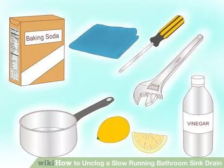 Images On Image titled Unclog a Slow Running Bathroom Sink Drain Step