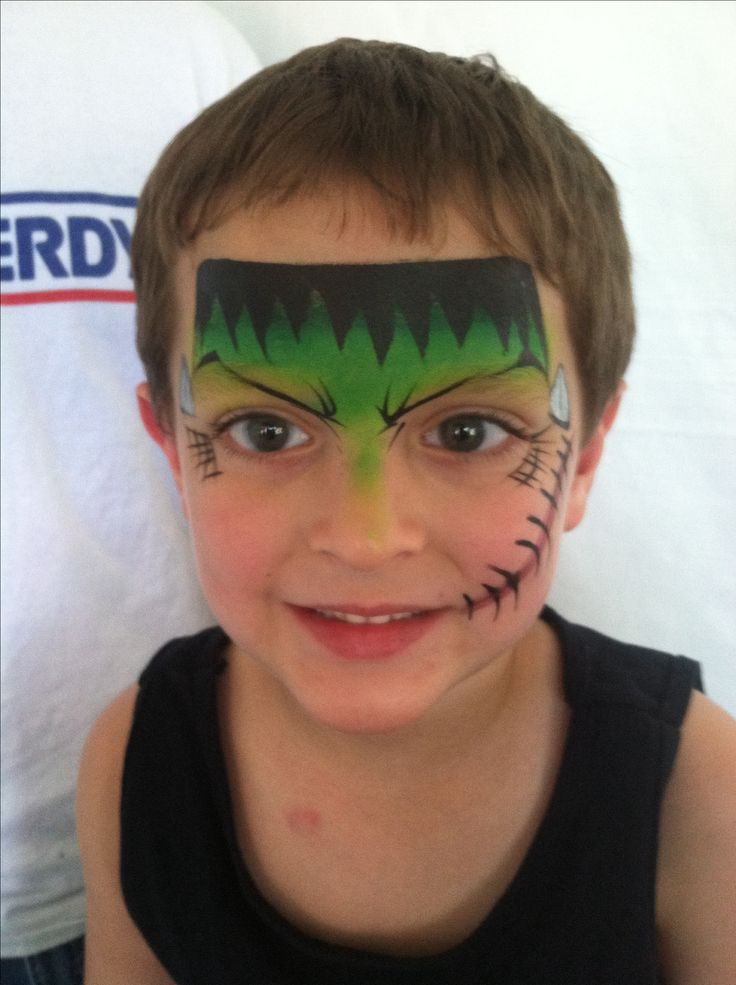 Frankenstine face painting design by ginaniemi of epic body art