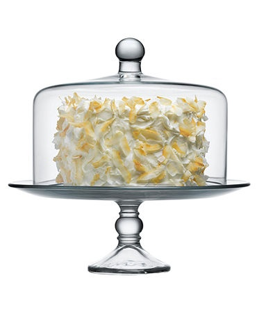 "The Cellar Cake Stand, Selene with Dome   Web ID: 386718.   An indispensable accessory for entertaining, this glass cake stand makes an elegant presentation of cakes, tarts, pies and more. Dome cover keeps your treats fresher, longer. Glass Dishwasher safe The Cellar cake stands Lid: 10"" x 9"" Base: 12.5"" W x 5"" H"
