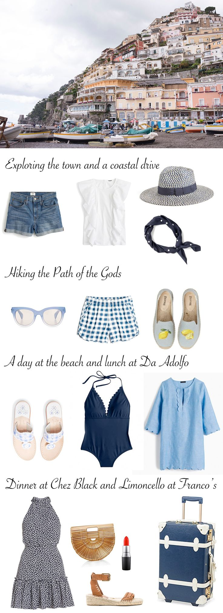 What to pack for Positano, Italy. A packing travel guide for the Amalfi Coast. What you need to bring for Ravello, Sorrento, Amalfi, and Capri.