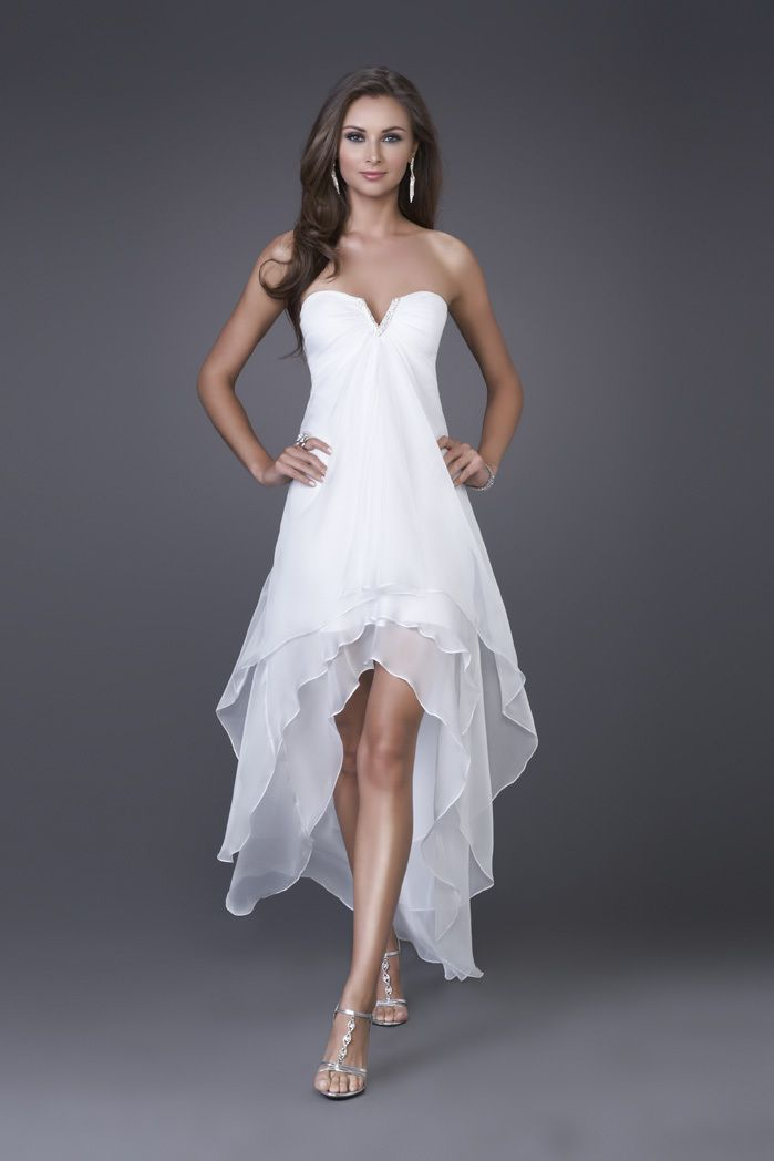 hi-low hem wedding dress -ZZKKO : maybe for night before wedding