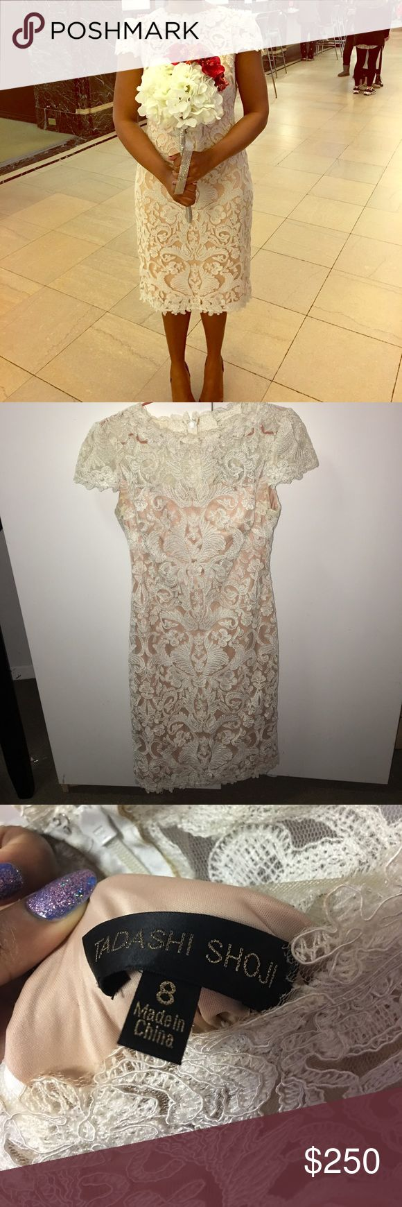 Tadashi Shoji Wedding Dress This was my wedding dress!! There are some stains and included pics of the lace at the bottom! You can take this dress to cleaners and fix it up! It's true size 8. Tadashi Shoji brand!! I don't discuss offers in the comment section, please use the offer button. No trades! Thanks so much!! Xo  I would love to sell this to beautiful bride to be! 🌹🌹💫💫💫🥂🎉🎉🎉🎉🎉🛍🛍🛍🛍🛍🛍🛍❤️❤️❤️❤️💙💜💙💜💙💜💙💜💙 Tadashi Shoji Dresses Wedding