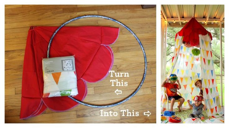 Fun project to make a circus tent or with different fabric a princess castle, a reading nook, or anything you can imagine! Easy to make and only a few supplies.