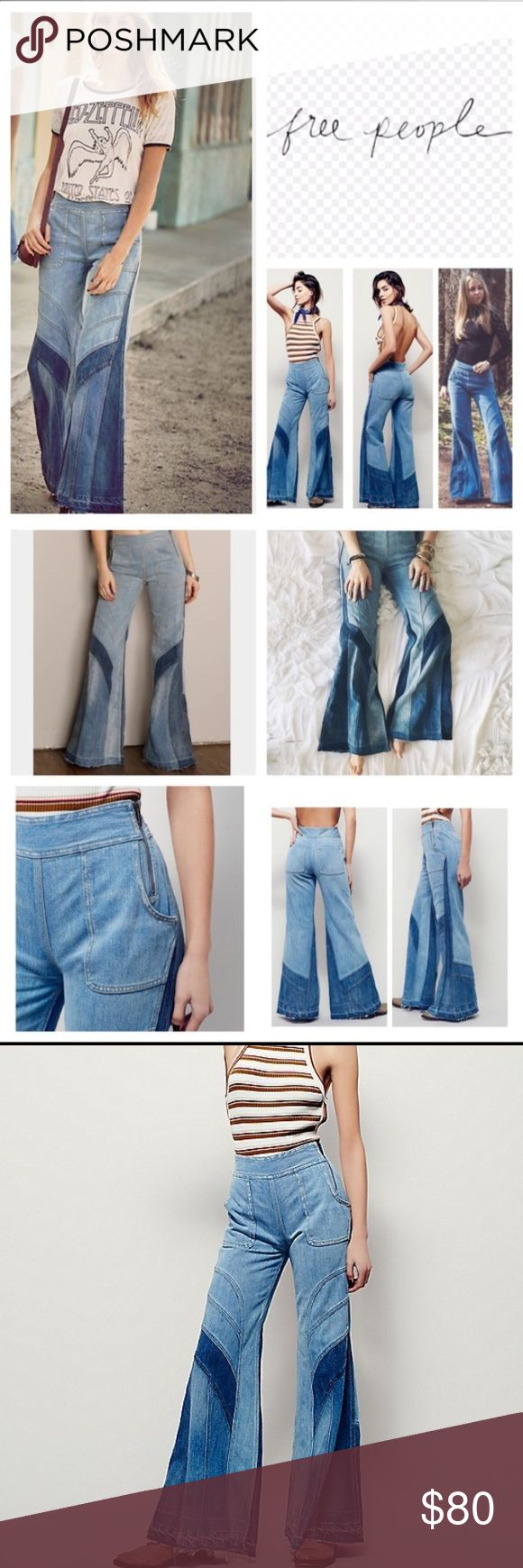 FREE PEOPLE TIDAL WAVE BELL BOTTOM SZ 24 Free people tidal wave bell bottom jeans features high waist, set on pockets and side zippers Free People Jeans Flare & Wide Leg