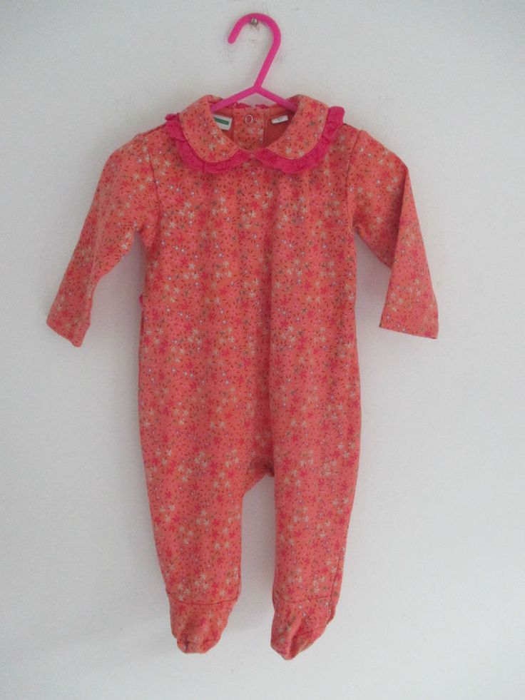 Baby girls Vertbaudet orange & pink babygro broderie anglaise size EU 67 :6 mths