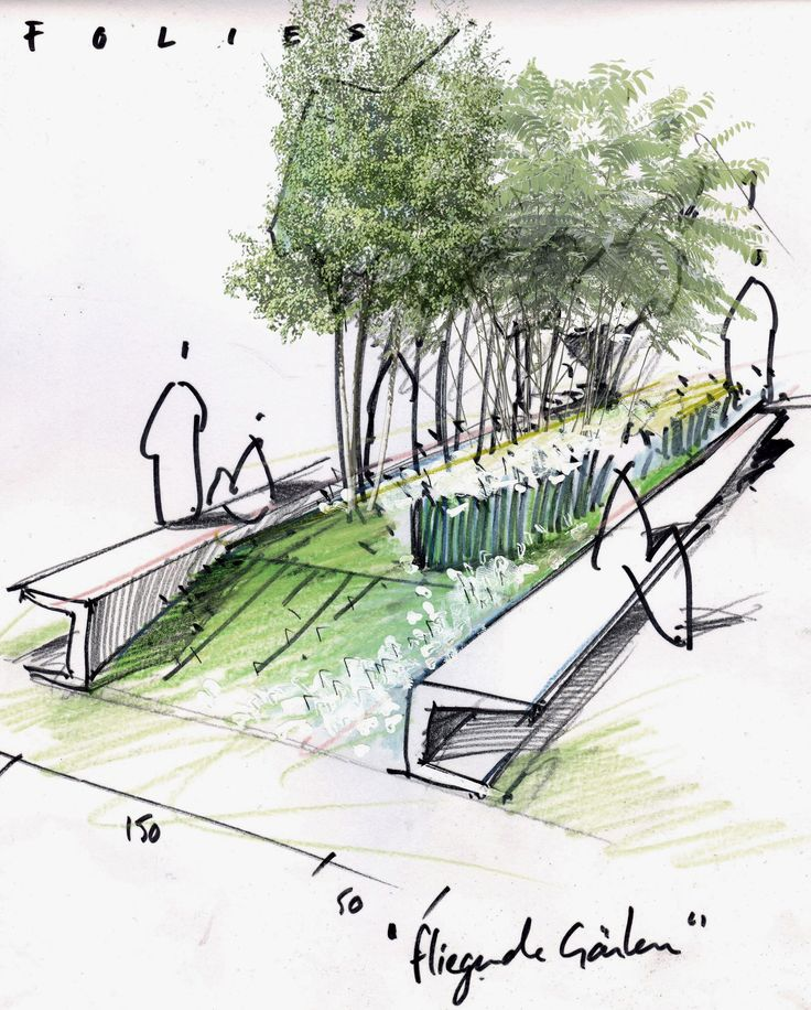 Atelier le balto drawings renderings pinterest for Garden design sketches