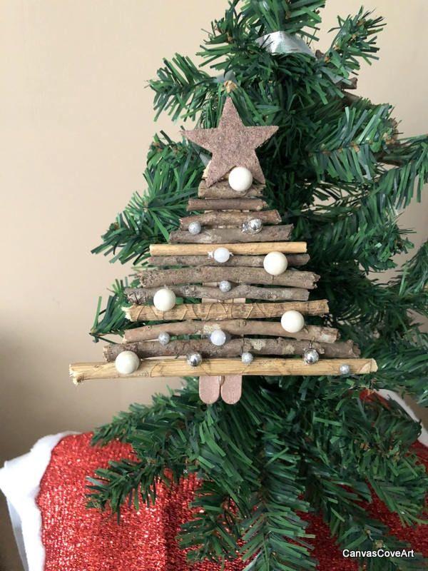 Set Of 2 Rose Gold Star Natural Wood Stick Christmas Tree Ornaments Handmade R Diy Christmas Tree Ornaments Stick Christmas Tree Christmas Crafts Decorations