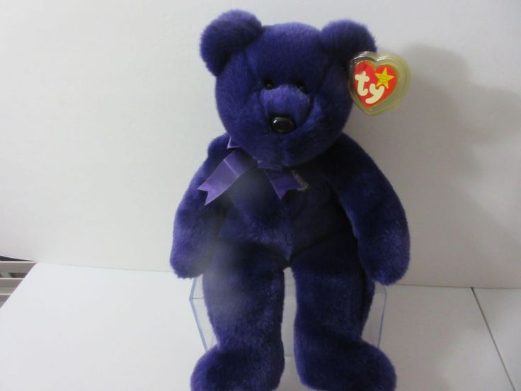 "TY Princess Diana Beanie Baby Buddy Large Purple Bear PE Pellets 1998 14"" #Ty"