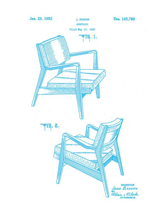 Patent Application Rendering Jens Risom Chair