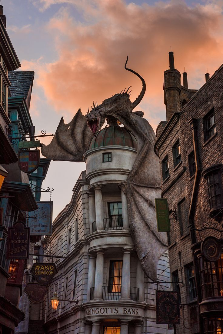 Dragon Diagon Alley Sunset light