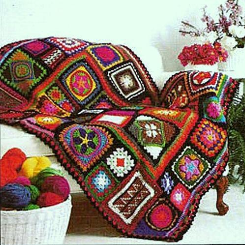 Vintage Crochet Pattern PDF  for Granny Square Sampler Afghan Blanket  Vintage Retro. £1.75, via Etsy.