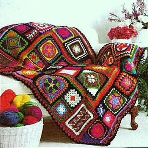 Vintage Retro Crochet Pattern PDF for Granny Square Sampler Afghan via Etsy.