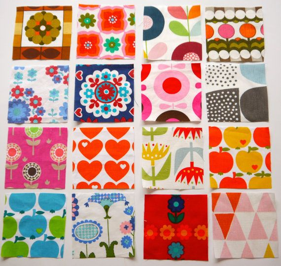 Pack of 16x Vintage and Retro Scandinavian Fabric Patchwork Squares Graziela 60s 70s