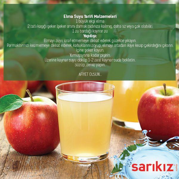 Sarıkız Doğal İçecek Tarifleri köşemizde Ev Yapımı Doğal Elma Suyu var. Afiyet olsun. :) #sarıkız #madensuyu #doğal #içecek #tarifi