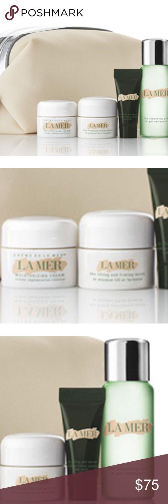 La mer 5 piece beauty bundle NET a cosmetics bag and deluxe samples of Crème de la Mer Moisturizing Cream (0.24 oz.), The Lifting & Firming Mask (0.24 oz.), The Lifting Eye Serum (0.1 oz.) and The Cleansing Gel (1 oz.) w La Mer Makeup