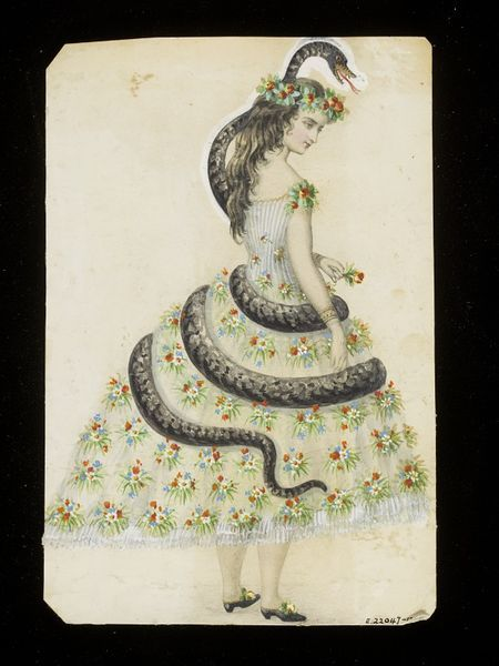 """The costume may represent Eve and the Serpent, with """"Eve"""" wearing a simple white dress entirely covered in sprigs of flowers and a wreath"""