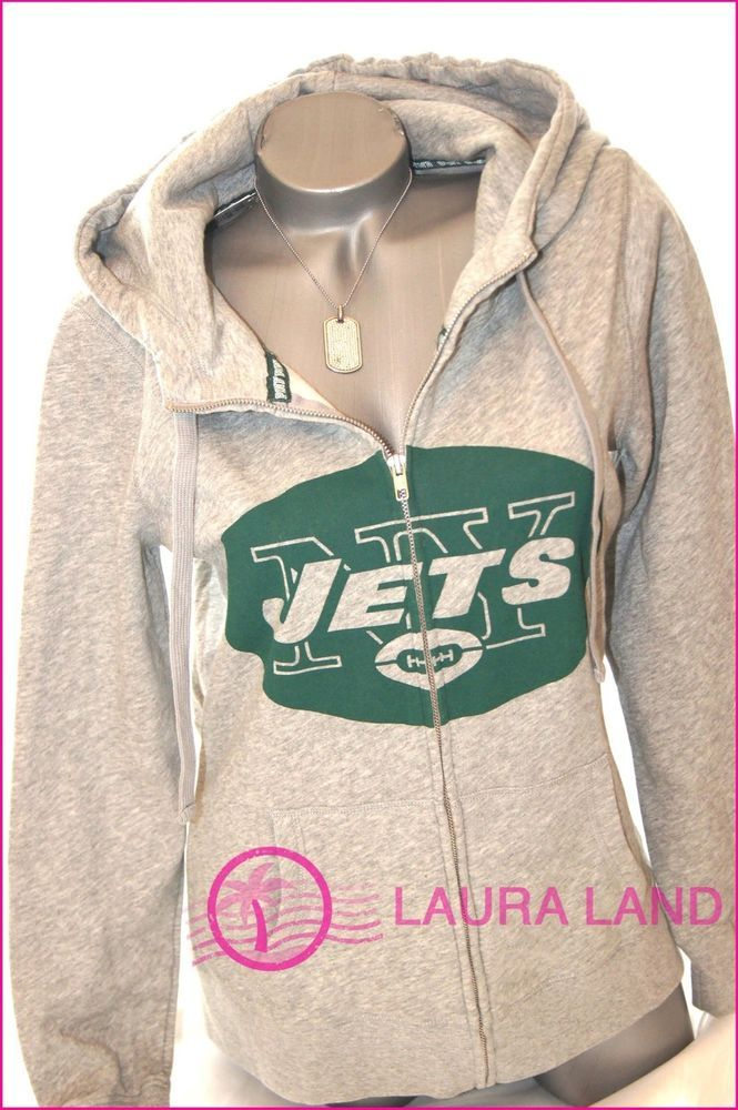 S~VICTORIA SECRET PINK HOODIE NEW YORK JETS NY FOOTBALL NFL SWEATSHIRT GRAY ~NWT #PINKBYVICTORIASSECRET #Hoodie