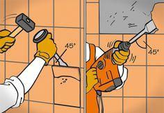 Alte Fliesen werden vom Heimwerker mit Hammer und Meißel bzw. Stemmhammer im 45-Grad-Winkel gelöst.