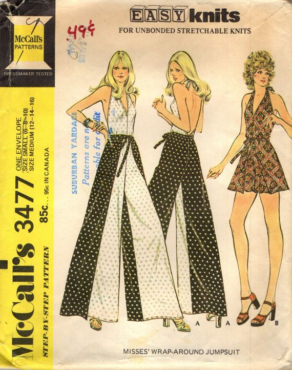 Mccall S 3477 Halter Jumpsuit W Wrap Around Pants Or