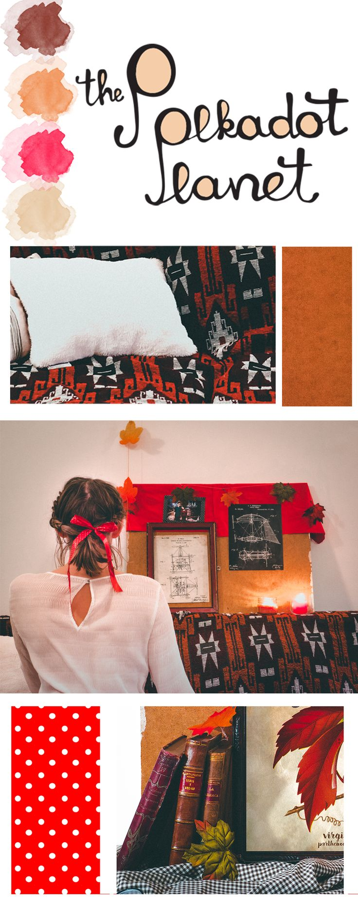 Deep reds, dark oranges, the last steps in fall. My favorite hair-bow and pumpkin pie scented candles, just the right mood for a dark November afternoon.