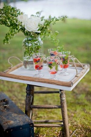 American Summer Drink Tray Table: Outdoor Wedding, Wedding Inspiration, Nashville Wedding, Americana Wedding, American Summer Drinks, Flower Arrangements, Fresh Berries, Wedding Planners, Southern Wedding