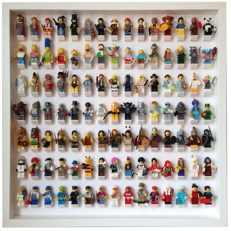 105 Lego Minifigures white frame display