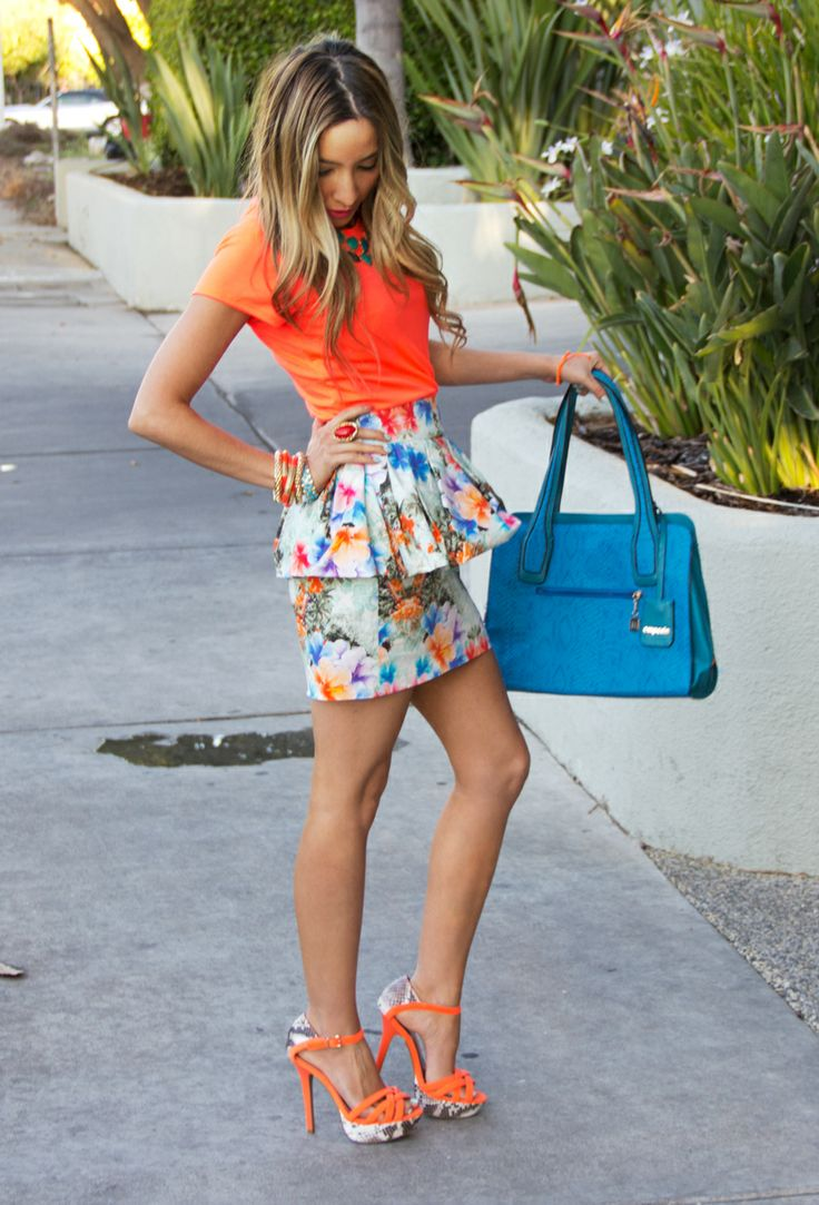 neon top with tropical flower skirt