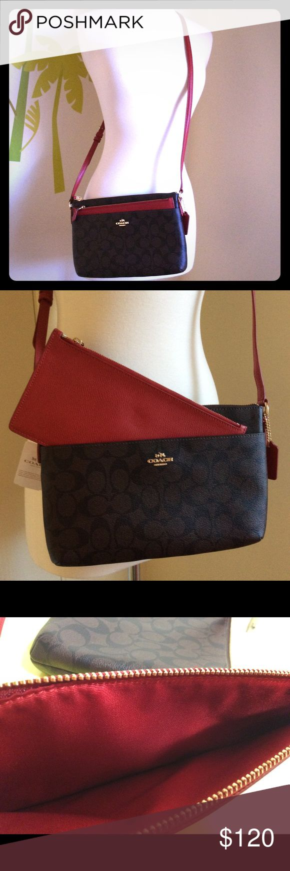 Coach Signature Crossbody Bag Brand new with tag. Adjustable red strap and removable red Pochette... Coach Bags Crossbody Bags