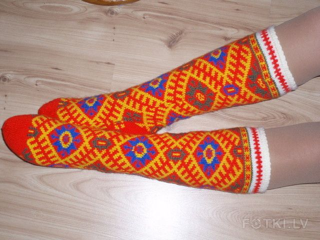 Knitted socks. Traditional pattern from Alsunga, Latvia.