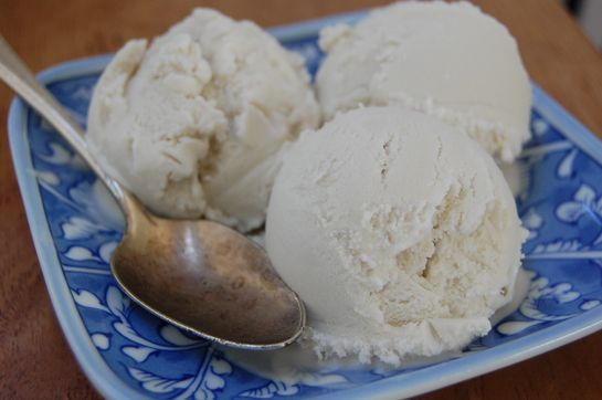 vanilla coconut milk ice cream. Amazeballs. Better than store bought!! I used maple syrup instead of honey and added some cinnamon. Hot damn!!