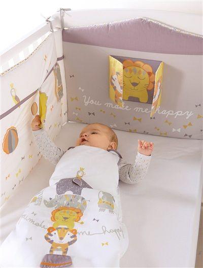 Tour de lit spécial éveil bébé thème Quel cirque ! TAUPE/BLANC - vertbaudet enfant