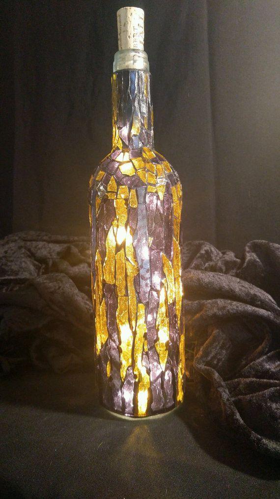 Vitrales artesanales mosaico púrpura y oro por CountryRhodesMosaic