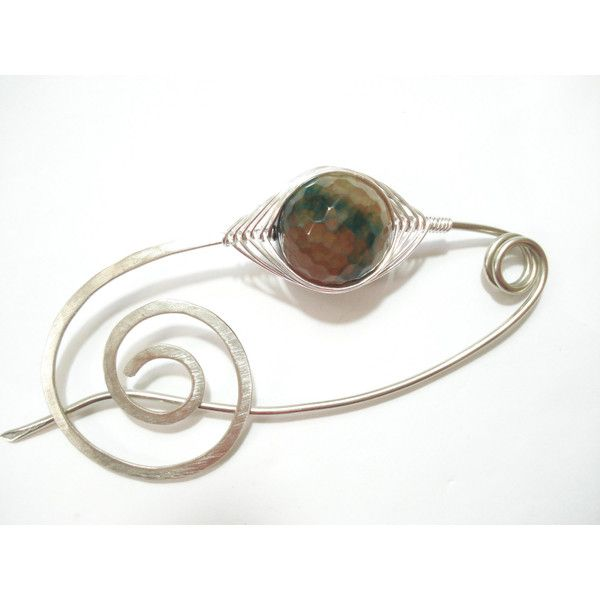 Shawl Pin Silver Scarf Wire Wrapped Pin Agate Shawl Pin Fibula Pin... (1.250 RUB) via Polyvore featuring accessories, scarves, silver shawl, silver scarves и shawl scarves