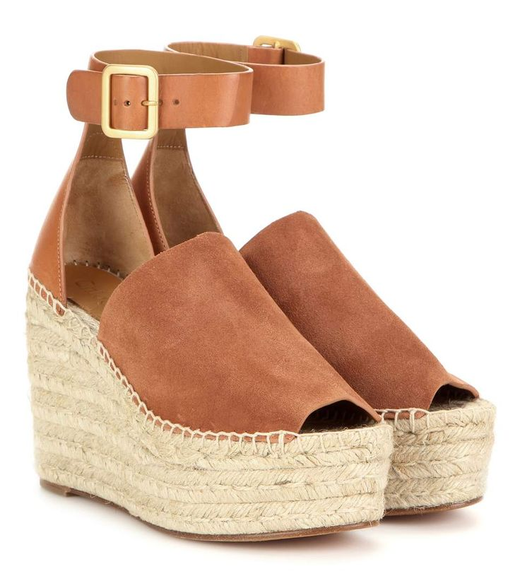 Tan suede and leather wedge espadrilles