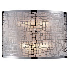 """Openwork wall sconce in stainless steel.   Product: Wall sconceConstruction Material: MetalColor: Stainless steelFeatures: Modern designAccommodates: (2) 60 Watt bulb - not includedDimensions: 8"""" H x 11"""" W x 5"""" D"""