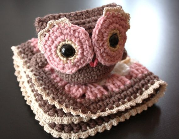 Crochet Baby Girl Gift Set - Matching Comfort / Security Blanket and Owl, Brown, Pink, White and Tan (Ready to Ship) by NadinesDreams