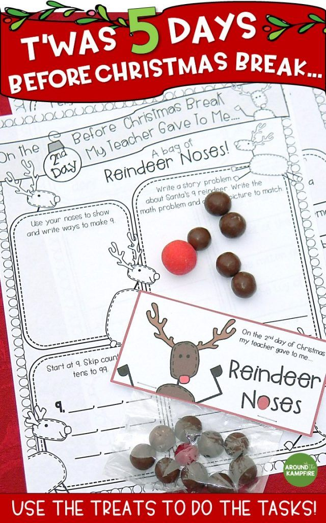 Need something to keep your first or second graders engaged and still learning that last CraZy week before Christmas or Winter Break? See how I made a Christmas break countdown anchor chart and surprised my students with simple daily gift/treats each day. They use the treats to do the tasks! Worked like a charm! they love reindeer noses! Ideal for the last week before break in 1st and 2nd grade. #firstgrade #secondgrade #christmascountdown