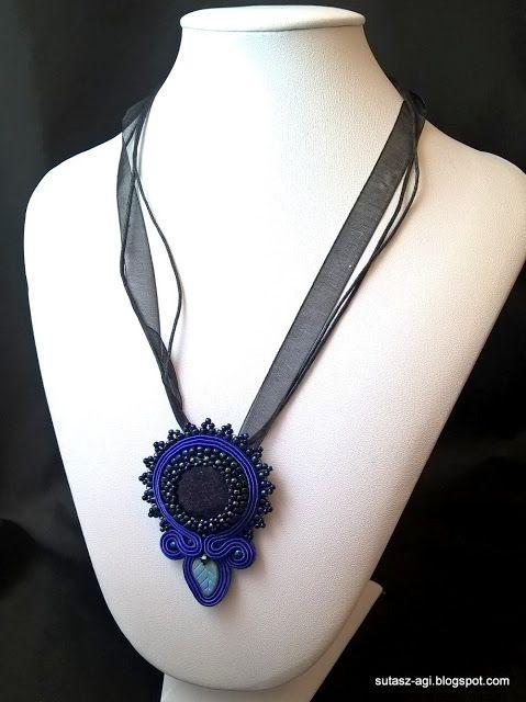 Blue soutache pendant