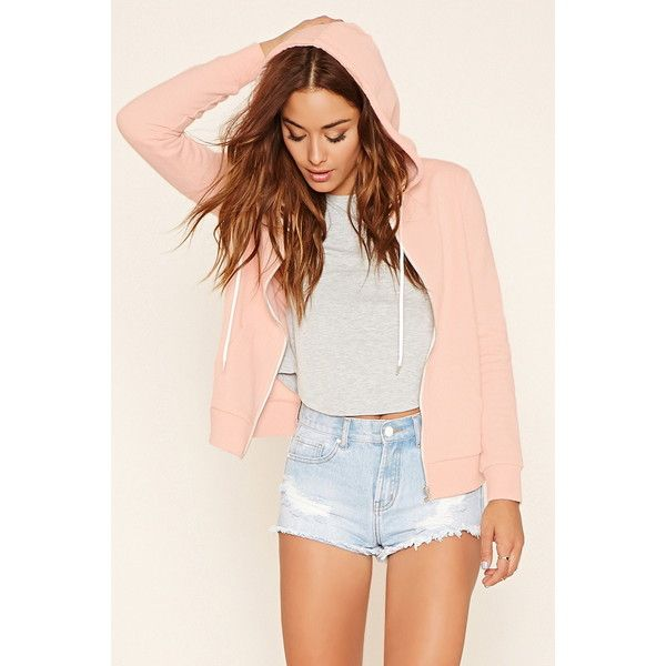Forever 21 Women's  Classic Zip-Up Hoodie ($13) ❤ liked on Polyvore featuring tops, hoodies, lightweight zip up hoodie, forever 21 hoodies, long sleeve hoodie, hooded zip up sweatshirt and lightweight hooded sweatshirt