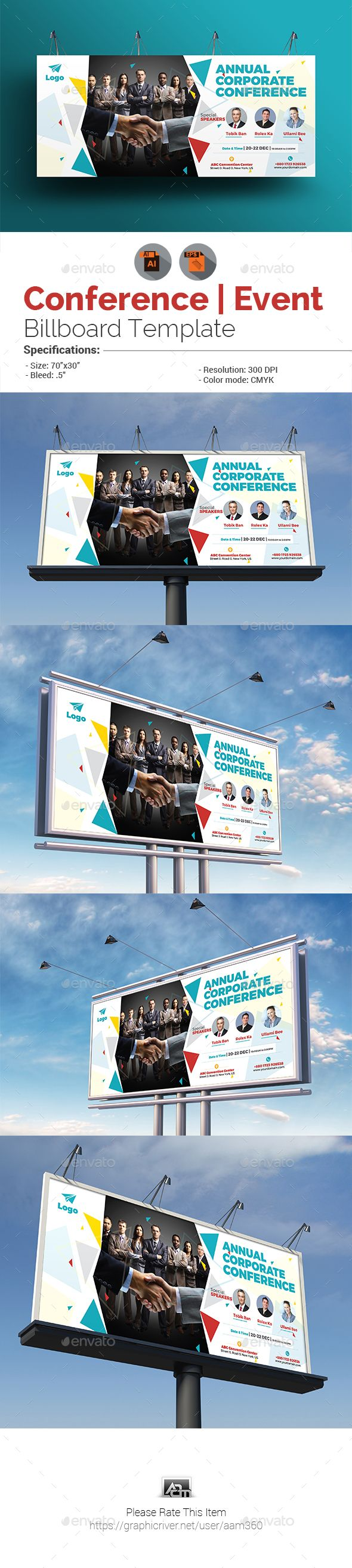 """INFORMATIONS FOR THIS BILLBOARD TEMPLATE:FEATURES:Size: 70""""x30"""" Bleed: .5""""Fully editable Illustrator AI & EPS file Files Included : adobe illustrator CS5 & CC Format (AI, EPS)Free Fonts Used Clean & Modern Design 300 DPI CMYK Help file included Font Download Links: Montserrat PLEASE NOTE :Sample pho"""