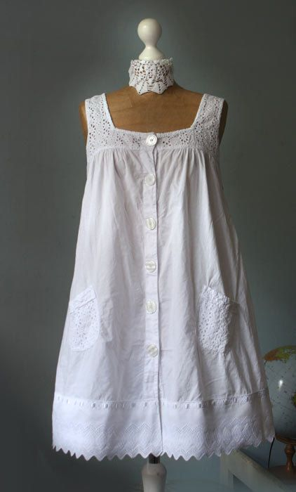 Vintage upcycled white dress embroidered tunic cotton by GreenHouseGallery