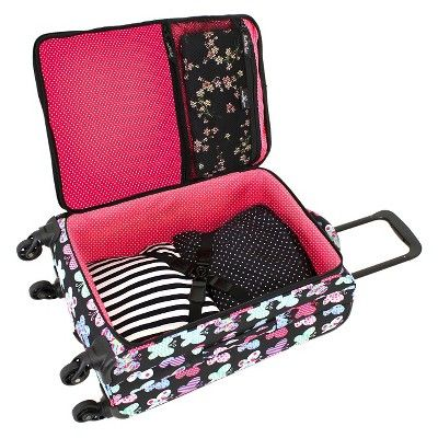 French West Indies 20 Carry On Spinner Carry On Luggage - Butterfly, Black