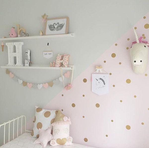 Mini Polkadots Decals Gold DIY Nursery from rockymountaindecals.ca #nurseries #kidsrooms #pink